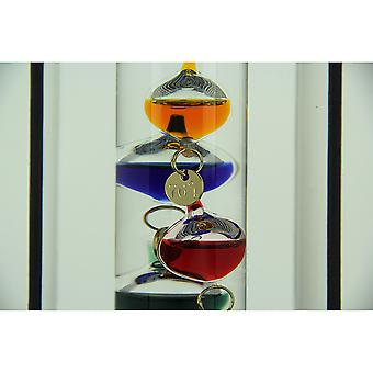 Glass Galileo Thermometer with Colored Glass Spheres in Wood Box Fact Frame