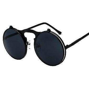 Ochelari (negru cadru lentile negre) femei bărbați lentile rotunde de design vintage cadru metalic polarizat elegant uv cadou # 548