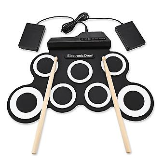 Silicon Drum Set Digital Electronic Roll Up Drum Kit Compact Size USB 7 Drum Pads