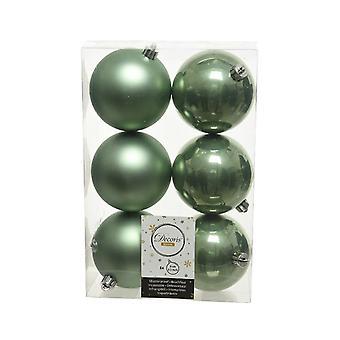 6 Sage Green 8cm Shatterproof Christmas Tree Bauble Dekoracje