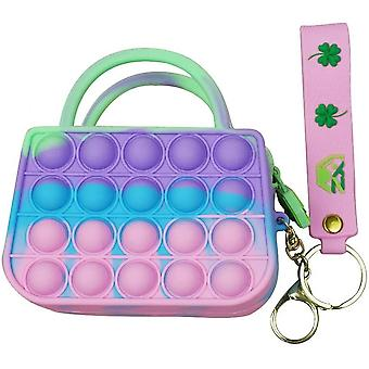 Push Bubble Fidget Toys Purse With Keychain And Strap