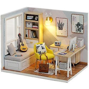 Cutebee diy talo puinen nukke talo miniatyyri nukkekoti huonekalut sarja led leluja lapsille