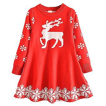 Dievča Deti Vianoce Xmas Print Jumper Šaty s dlhým rukávom sveter šaty