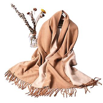 Women's Solid Color Scarf Thickened Two-color Warm Shawl Scarf In Winter