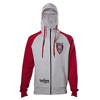 Guardians Of The Galaxy 2 Drax Hooded Zip Mottled Light Grey / Red XL Size
