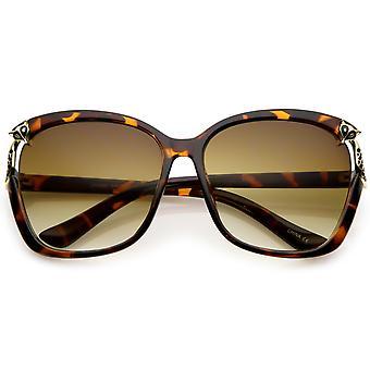 Plaza de gran tamaño gafas de sol de la mujer con Fox Metal acento abertura 60mm