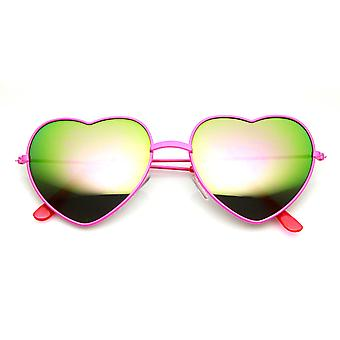 Женские цвета с покрытием цельнометаллическая рама цвет зеркало сердца форма солнцезащитные очки
