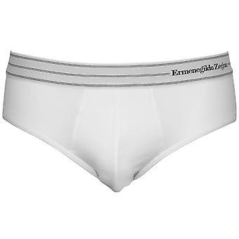 Ermenegildo Zegna Striped Waist Stretch Cotton Midi Brief, White