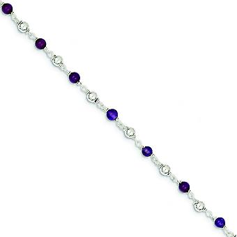 925 Sterling Silver 7 Inch Polished Amethyst Beaded Bracelet Spring Ring Jewelry Gifts for Women