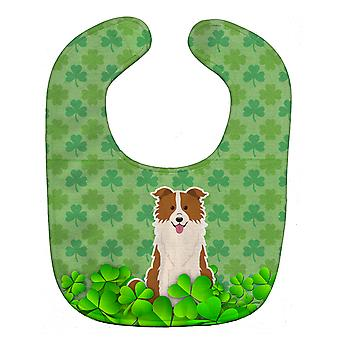 Carolines Treasures  BB6260BIB Border Collie Red White Shamrocks Baby Bib
