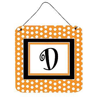 مونوغرام الأولى رسالة د-البرتقالي بولكادوتس الجدار أو الباب معلقة يطبع