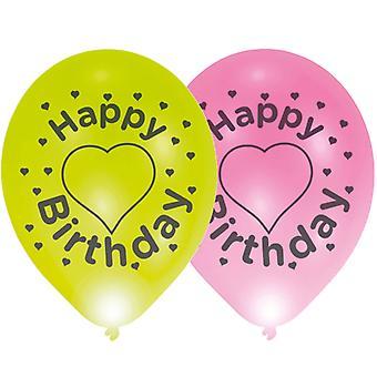 LED aerostati di buon compleanno di luce 4 pezzo 28cm Larghezza, palloncini festa decorazione 24 ore autonomia