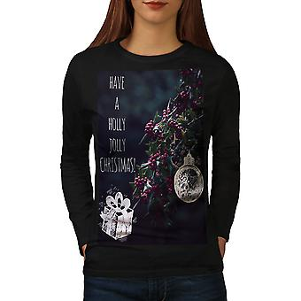 Holly Jolly Women BlackLong Sleeve T-shirt | Wellcoda