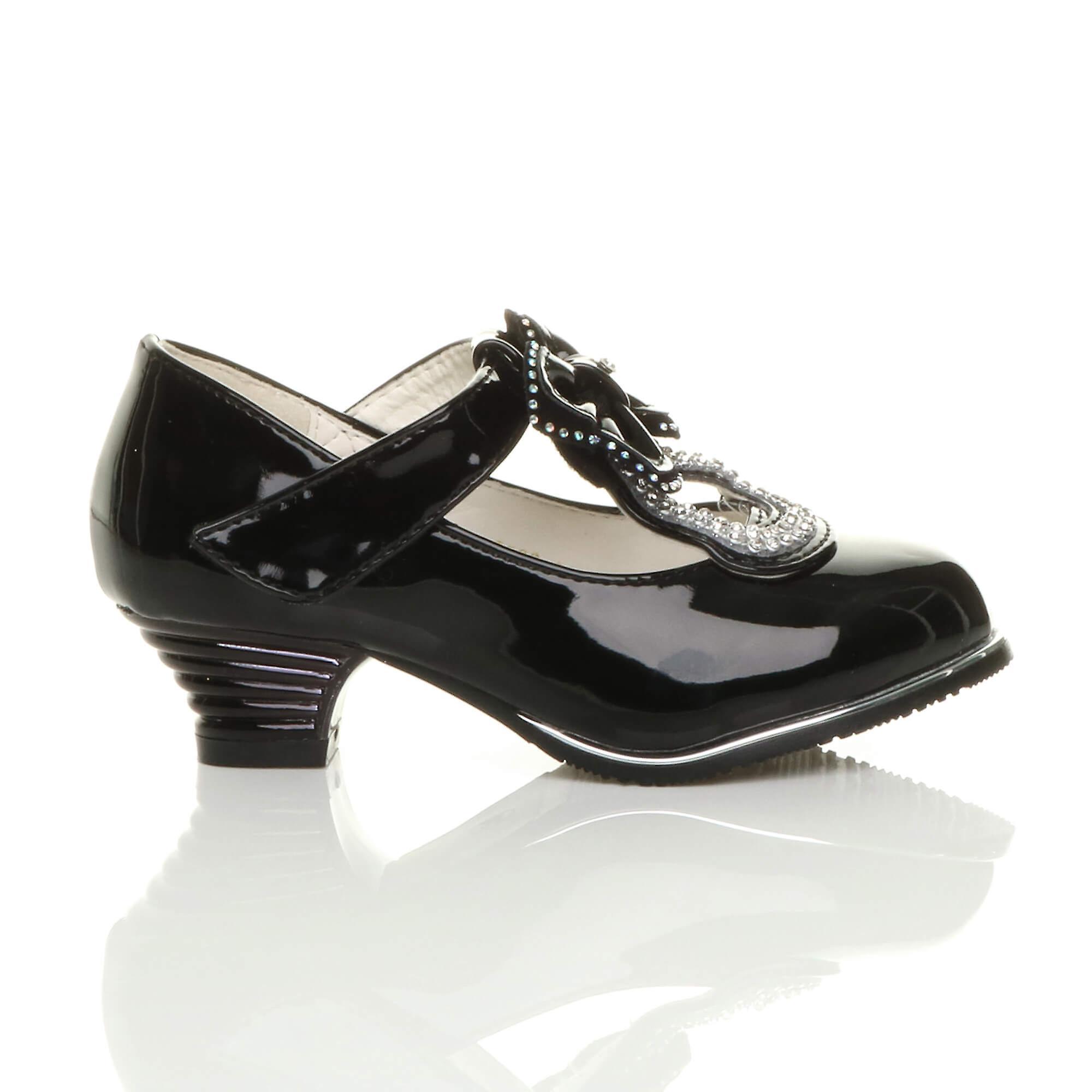 Ajvani meisjes lage hak t-bar vlinder boog diamante mary jane schoenen k6dV6v