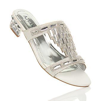 Ajvani womens bloco baixo salto diamante gem noite deslizamento mulas flip flops sapatos sandálias