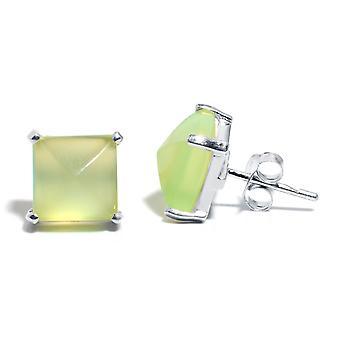 Gemshine المرأة الأقراط 925 فضة Chalcedon البحر الأخضر 10mm
