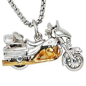 Kettenanhänger Anhänger Motorrad 925 Sterling Silber rhodiniert teilvergoldet