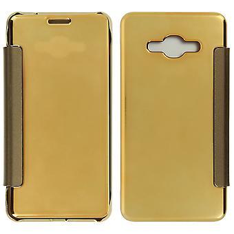 Flip tilfelle, speil tilfelle for Samsung Galaxy J3, se gjennom front flip - gull