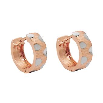 Creole 12x5mm hinged flip top bicolor 9Kt rose gold rhodium-plated