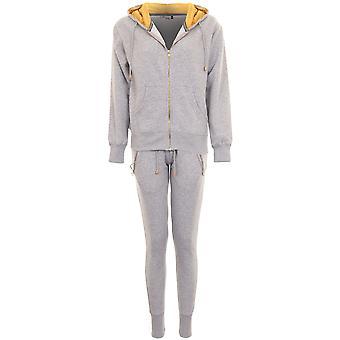 Ladies Luxury Fleece Gold Insert Zip Up Hoodie Joggers Tracksuit 2 Piece Set