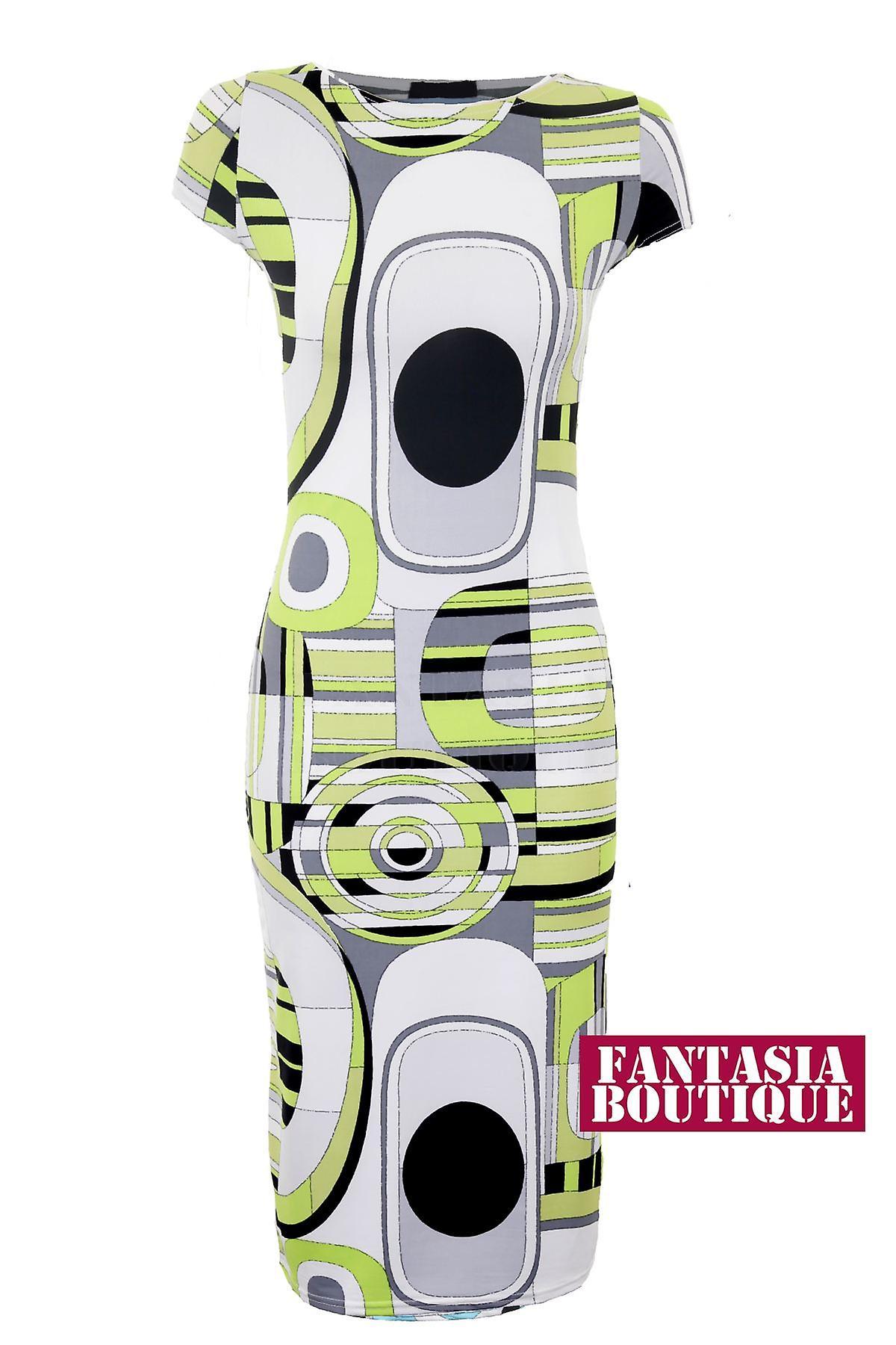 Hyvät Cap Sleeve ympyrä tulostaa Midi Stretch Bodycon naisten pukeutuminen