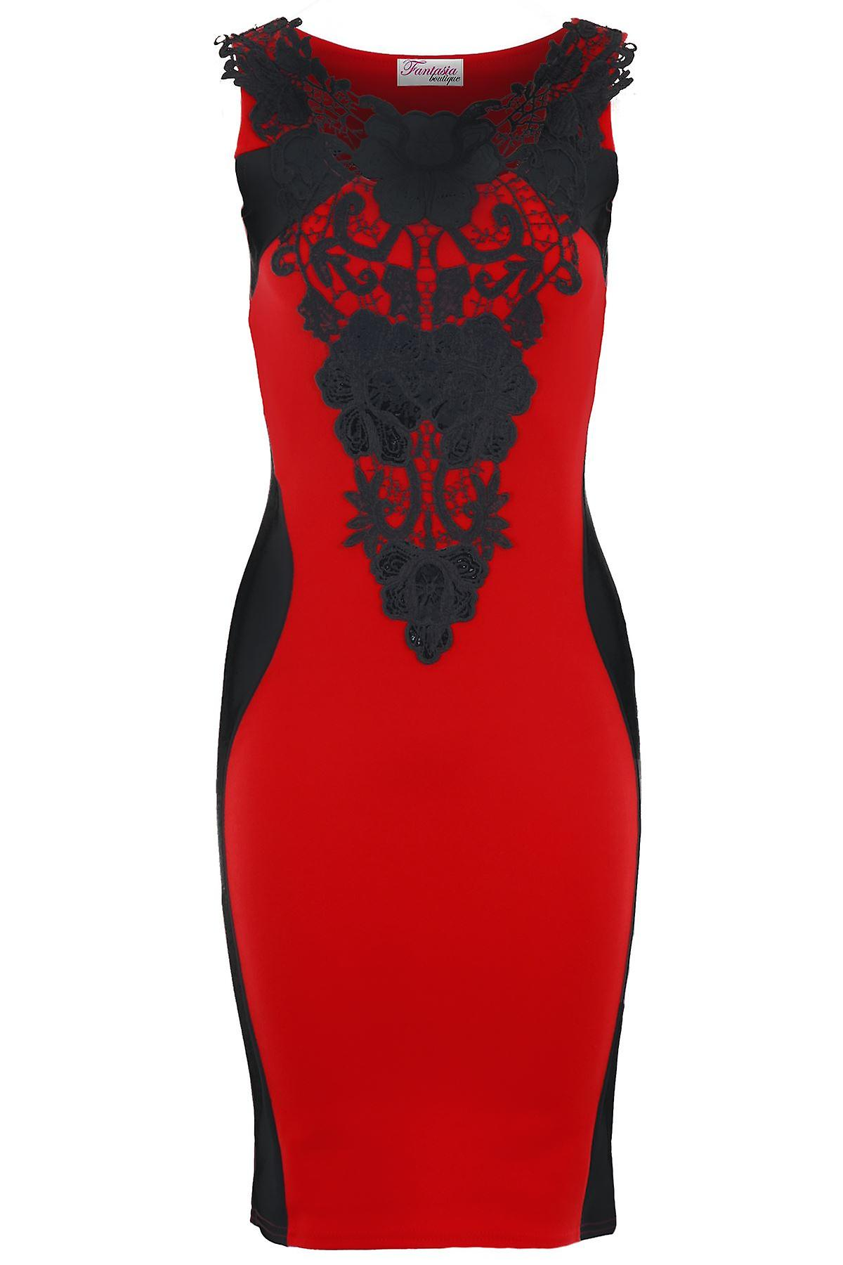 Ladies Crochet Neck Slimming Effect Panel Bodycon Midi Knee Length Dress