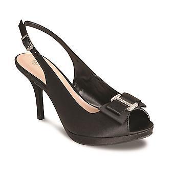Damen Peep Toe Diamante Bow Akzent Ankle Strap Damen Heels Clutch Bag