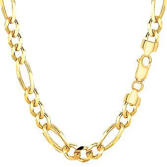 10 ك الصفراء الصلبة الذهب فيغارو سلسلة قلادة، 6.0 ملم