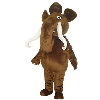 big brown mammoth SPOTSOUND mascot, with large tusks