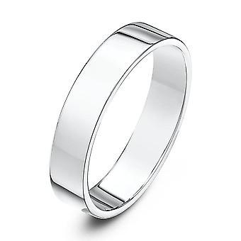 Star Wedding Rings 9ct White Gold Light Flat Court Shape 4mm Wedding Ring