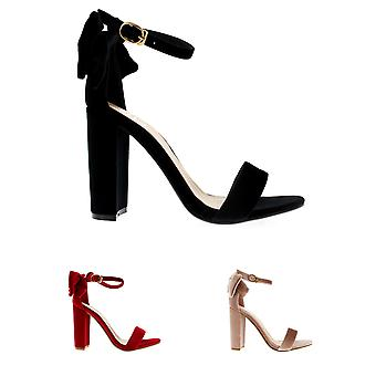 Womens Barely There Cut Out Open Toe Bow Ankle Strap Block Heel Sandals UK 3-10