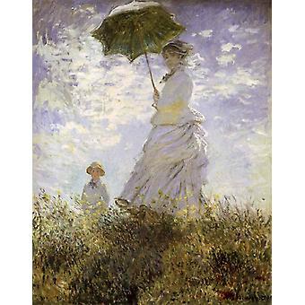 De wandeling, dame met parasol, Claude Monet, 50x40cm