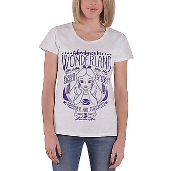 Official Womens Alice in Wonderland T Shirt Adventures Text New Grey Skinny Fit