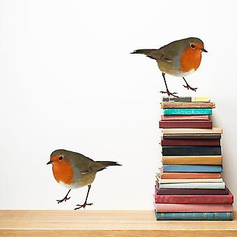 Full Colour Set of 2 Robin Wall Sticker