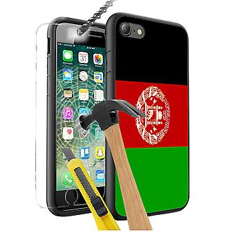 For Apple iPhone 5 SE - Afghanistan Flag Design Printed Black Case Skin Cover with Tempered Glass - 0001 by i-Tronixs
