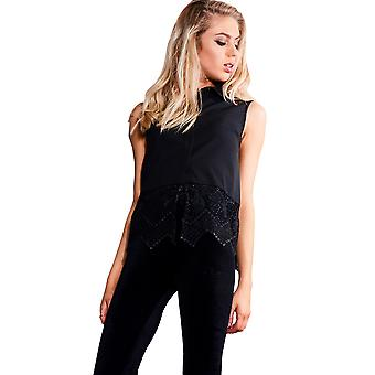 LYDC Black Sleeveless Shirt With Lace Inserts