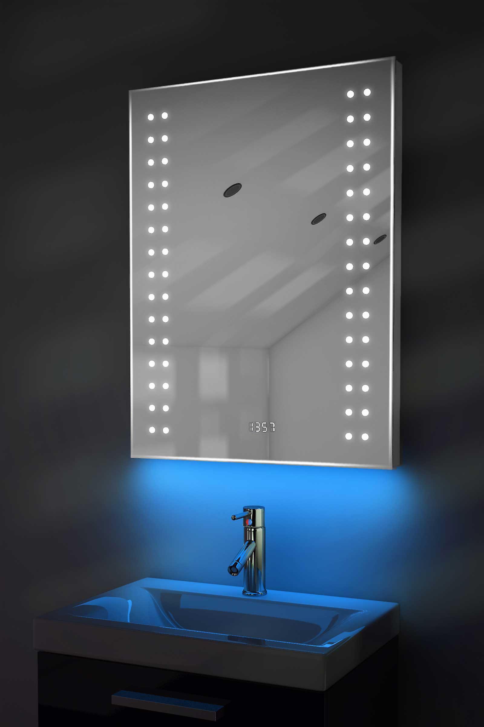 Digital Clock Shaver Mirror with RGB Lighting, Demist & Sensor k187rgb
