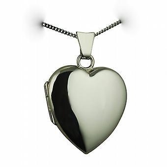 9kt hvidguld 21x19mm plain hjerte formet medaljon med en bremse kæde 20 inches
