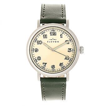 Elevon Felix Leather-Band Watch - Silver/Green