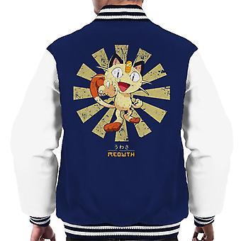 Meowth Retro Japanese Pokemon Men's Varsity Jacket