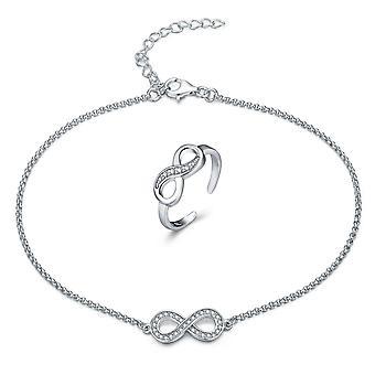 925 Sterling Zilver Pave Infinity Enkelbandje met teen Ring Set
