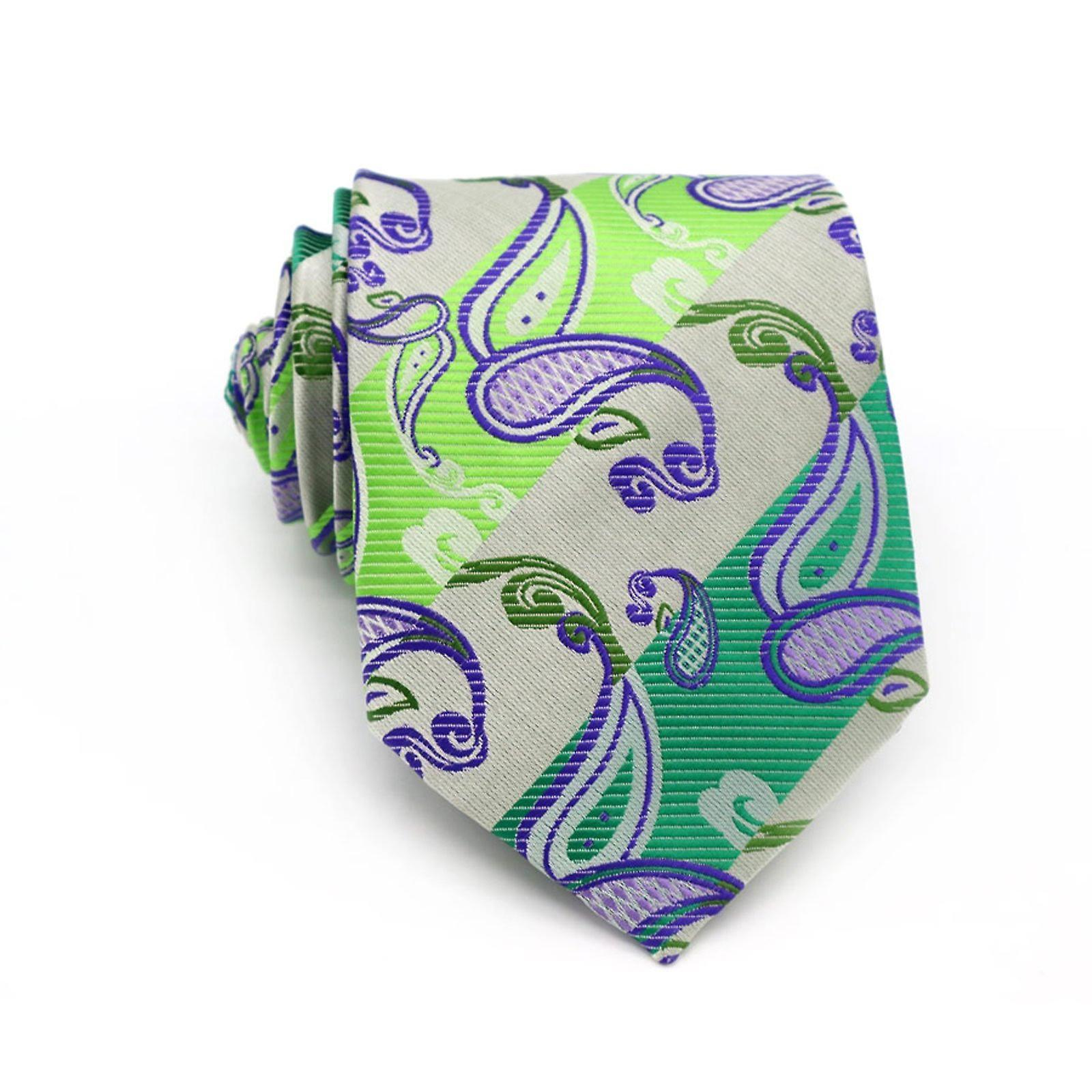 Bright green & purple & oat paisley pocket square & tie