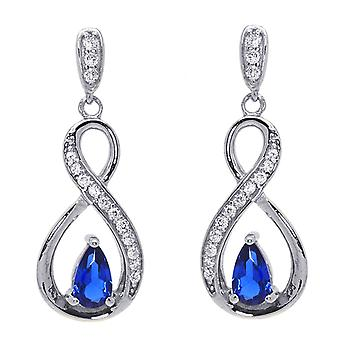 Ah! Jewellery Ribbon Twist Earrings With Sapphire Pear & Clear Paved Crystals From Swarovski