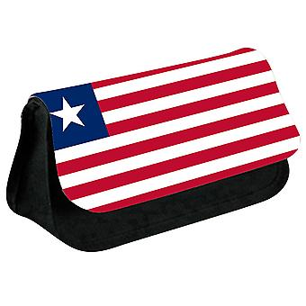 Liberia Flag Printed Design Pencil Case for Stationary/Cosmetic - 0097 (Black) by i-Tronixs