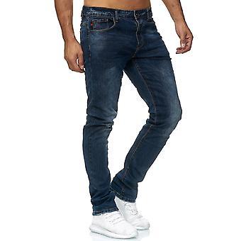 Mäns jeans byxor denim byxor klassiska Slim begagnade tvättade regelbundna midja bottnar