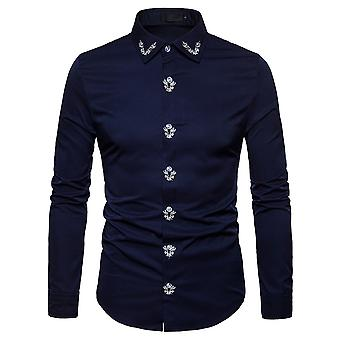 Allthemen heren shirt met lange mouwen gedrukt katoenen shirt 4 kleuren