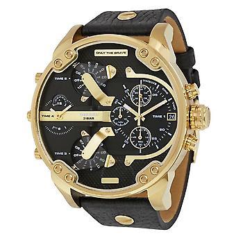 Diesel Dz7371 Big Daddy 2.0 Black Gold Leather Strap Mens Watch