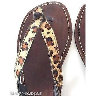 Leopard Leather Flip Flops