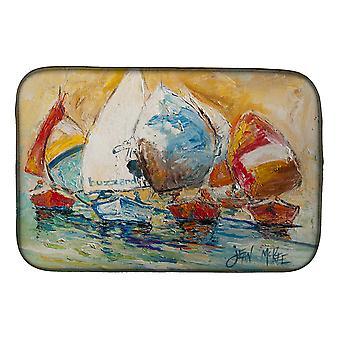 Carolines Treasures  JMK1037DDM Buzzards Sailboat Race Dish Drying Mat