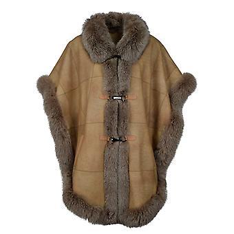 Women's fur poncho with fox trim